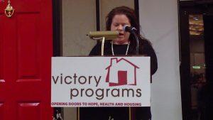 woman speaking on mic