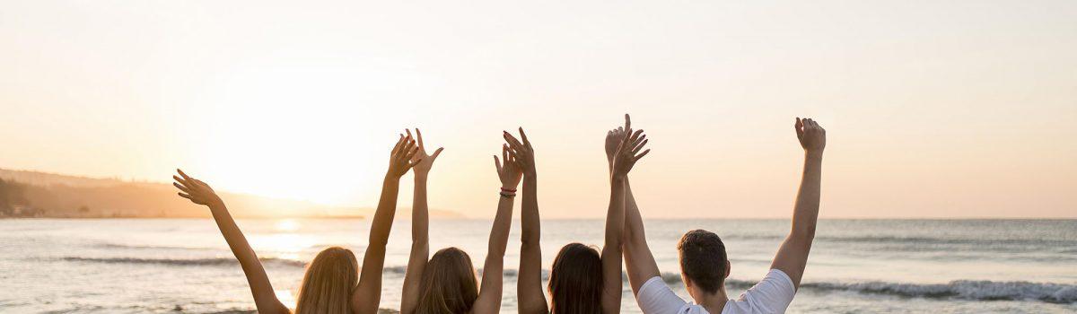 friends hands up