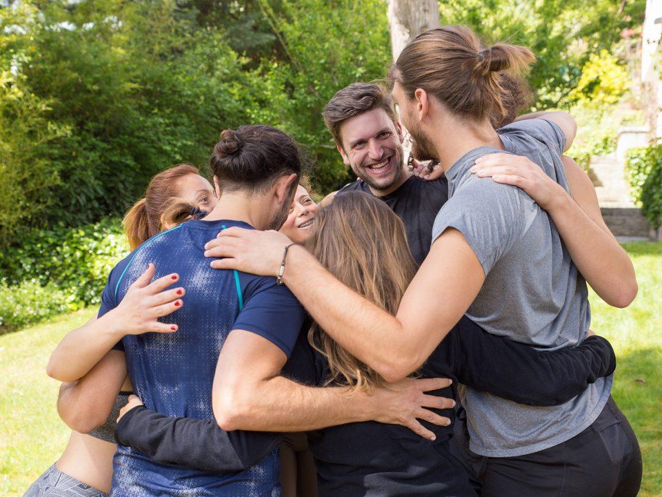 team hug