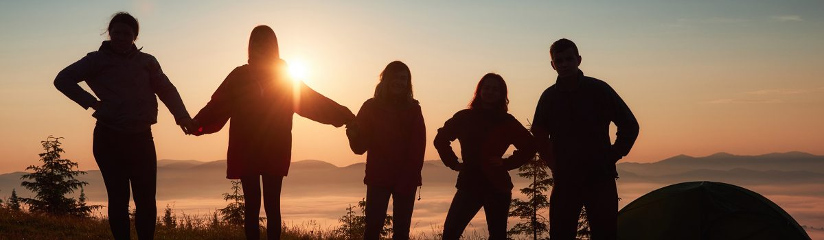 silhouette of group of people during sunset